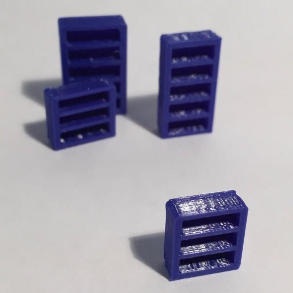 Magnet bibliothèque basse étroite bleue