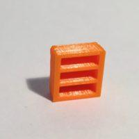 bibliothèque basse étroite orange