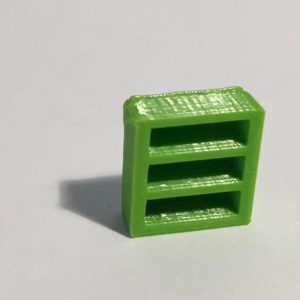 bibliothèque basse étroite verte